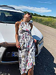 Летний сарафан с обвязкой на шее в цветочный принт длиной миди (р. 42-44) 36032662, фото 5
