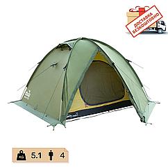 Намет Tramp Rock 4 місний, TRT-029-green. Палатка туристична 4 місна. Намет експедиційний