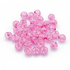 """Бусины Акрил """"Битое Стекло"""", Имитация, Круглые, Цвет: Розовый, Диаметр: 10мм, Отверстие 2мм, около 45шт/25г,"""