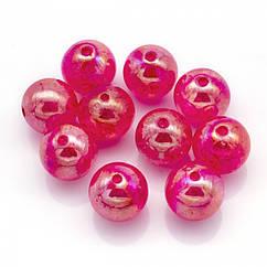 """Бусины Акрил """"Битое Стекло"""", Прозрачные, Круглые, АВ цвет, Цвет: Розовый, Размер: 20мм, Отверстие 2.5мм, 10 шт"""