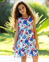 Платье Elsima трикотажное с гавайскими цветами 98 см  (724v1)