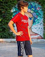 Комплект Elsima в спортивному стилі з червоною футболкою 128 см (1689v2)