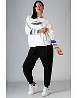 Спортивный костюм SONESTA с полупрозрачными вставками черно-белый XS (SN2730-31 white)