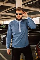 Льняная синяя рубашка мужская | 100% лён | турецкая ткань, фото 1