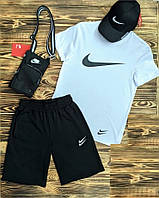 Мужской летний костюм Nike черно-белый (футболка и шорты)
