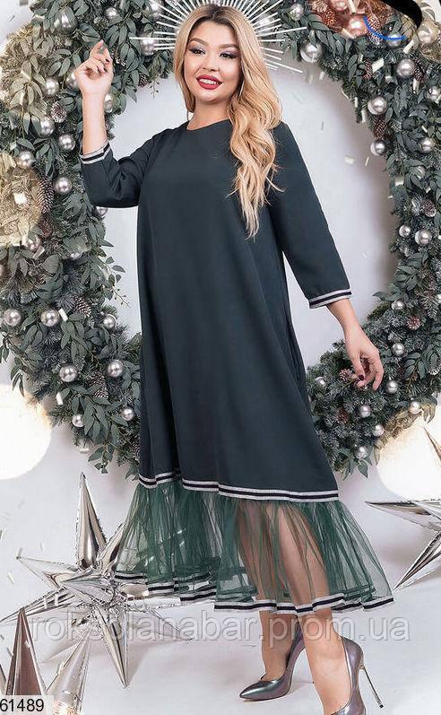 Сукня максі XL зеленого кольору з сіточкою внизу