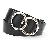 Ремінь шкіряний жіночий чорний з двома кільцями PS-4069 (125 см), фото 1