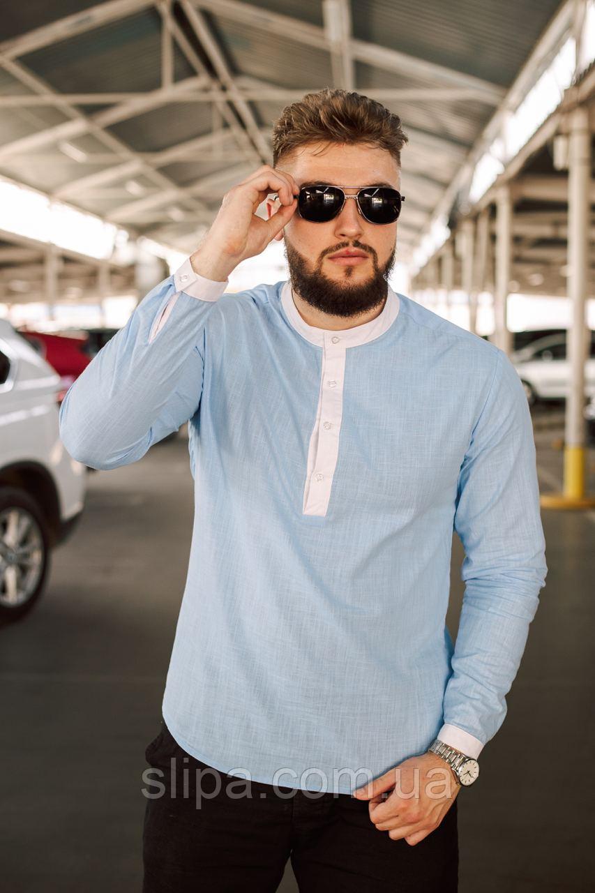 Льняная голубая рубашка мужская   100% лён   турецкая ткань