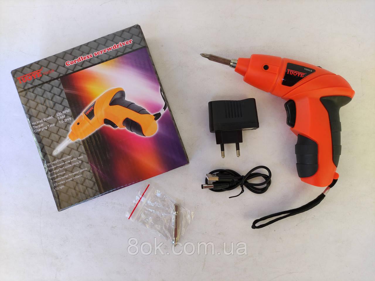 Аккумуляторная электроотвертка мини шуруповерт с 2 битами Tuoye Tools 7163