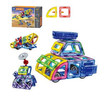 Конструктор магнитный детский 96 деталей Магнитный детский конструктор с колесами Конструктор магнитный