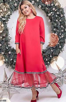 Сукня максі XL червоного кольору з сіточкою внизу