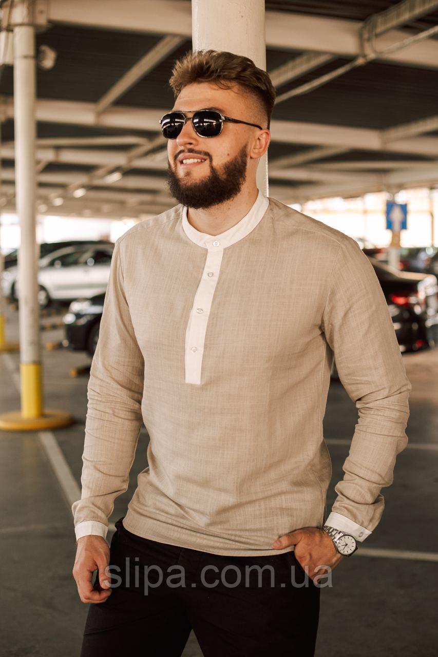 Льняная бежевая рубашка мужская | 100% лён | турецкая ткань