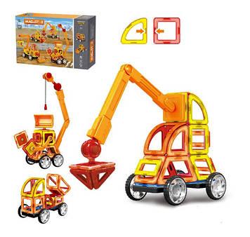 Конструктор магнитный для детей стройтехника Детский магнитный конструктор 87 деталей Конструктор на магните