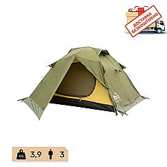 Намет Tramp Peak 3 місний, TRT-026-green. Палатка туристична двошарова. Намет експедиційний