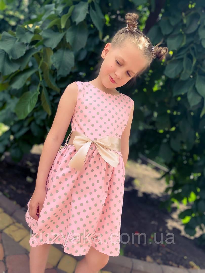 Дитяче літнє плаття сукня в горох на зріст 104-122 см