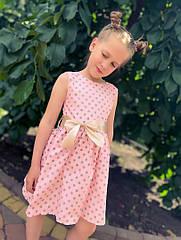 Детское летнее платье в горох на рост 104-122 см