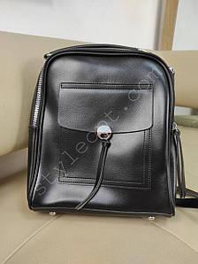 Стильный женский рюкзак с карманом из кожзама 27*22*8 см