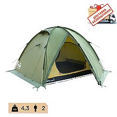 Намет Tramp Rock 2 місний, TRT-027-green. Палатка туристична двошарова. Намет експедиційний