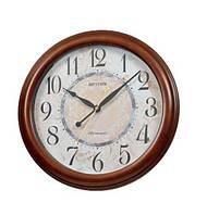 Настенные деревянные часы из натурального дерева интерьерные деревянные круглые коричневые под антиквар с боем