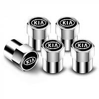 Ковпачки на ніпель з логотипом марки авто Kia Alitek Short Silver Кіа (4 шт)
