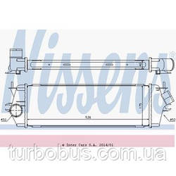 Радиатор интеркулера на Renault Trafic 06-> 2.0dCi + 2.5dCi (146 л. с. ) — Nissens (Дания) - NIS 96583
