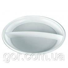 Тарелка 2-х секционная пластиковая диаметр 205мм  (100 шт)  белая мелкая (не глубокая) одноразовая для второго