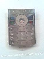 Клавиатура для мобильного телефона Motorola V3, серебристая, русская, оригинал
