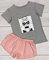Молодежная пижама из вискозы с аппликацией футболка+ шорты.