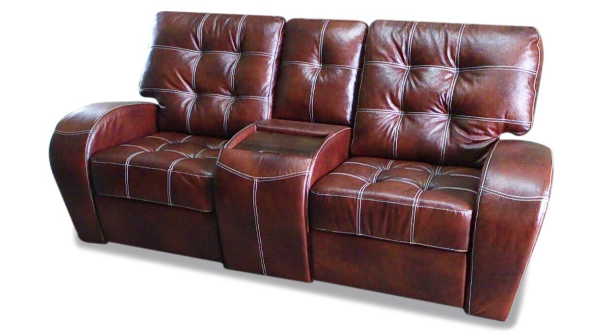 Кожаный двухместный диван-реклайнер Винс с баром