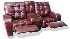 Кожаный двухместный диван-реклайнер Винс с баром, фото 2