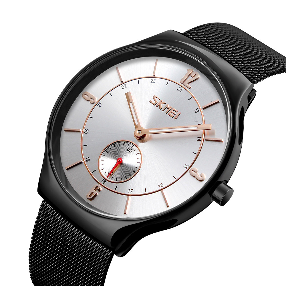 Skmei 9163 design чорні з сріблястим чоловічі годинники