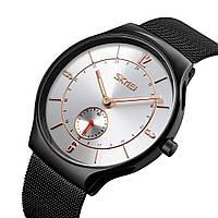 Skmei 9163 design чорні з сріблястим чоловічі годинники, фото 1