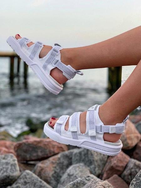 Женские сандали New Balance Caravan Multi Sandals в стиле босоножки Нью Беланс Белые Рефлектив (Реплика ААА+)