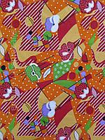 Ситець для сукні чи халату: помаранчево-червона геометрія  шириною 80 см, фото 1