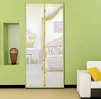 Дверна антимоскітна сітка Magic Mesh на магнітах 100х210 см Жовтий (KG-2703)