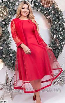 Сукня з піджаком червоного кольору з сіточкою з флока