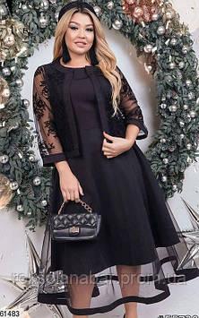 Сукня з піджаком чорного кольору з сіточкою з флока