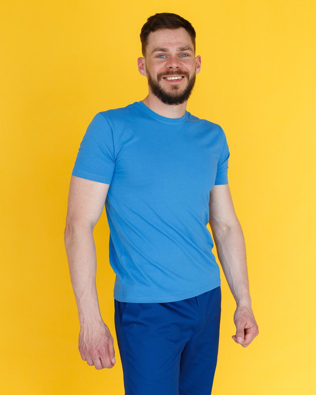 Мужская медицинская футболка, голубая