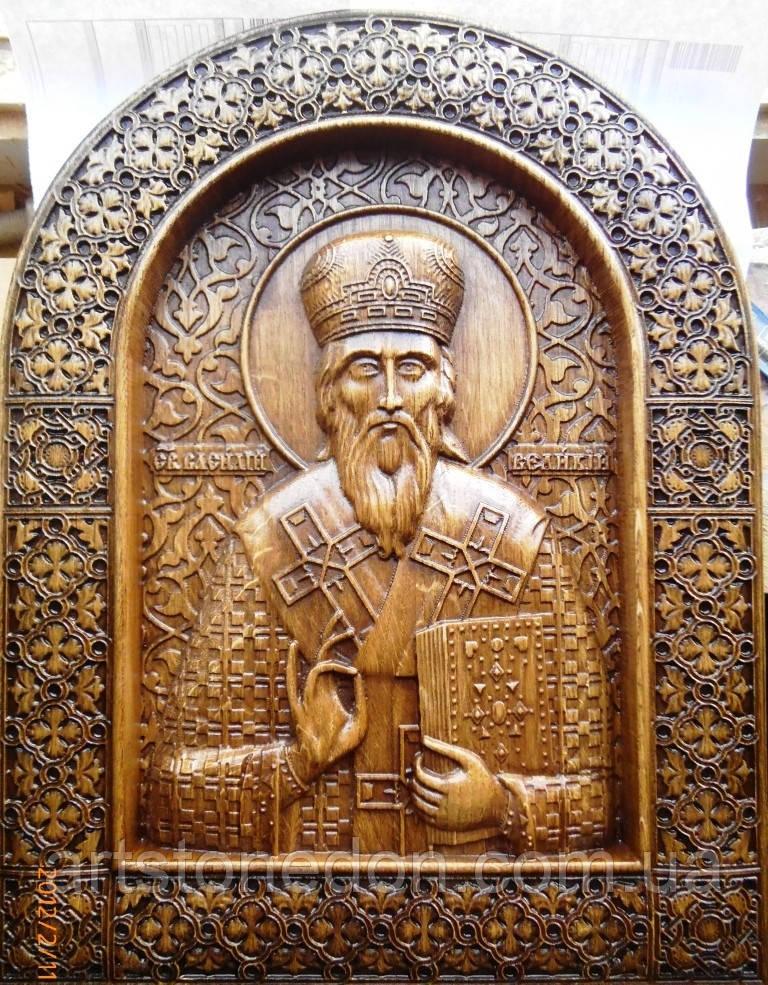 Деревянные резные иконы. Икона Василия Великого резная