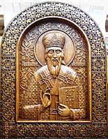 Деревянные резные иконы. Икона Василия Великого резная, фото 1