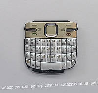 Клавиатура для мобильного телефона Nokia C3-00 русская, High Copy  белая с золотом