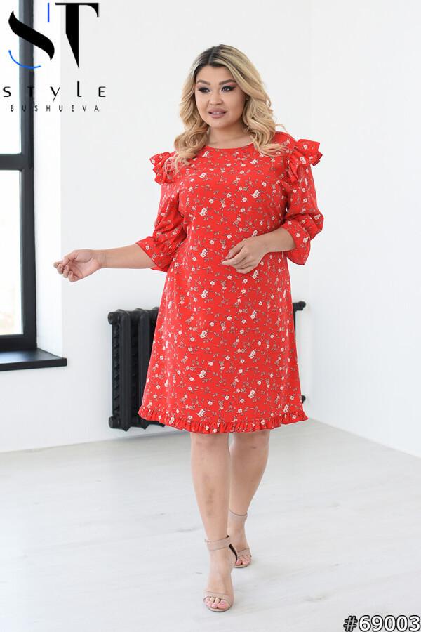 Модное цветочное платье до колена с оборками рукав  3/5, красный, Супер софт|р.L-XL (48-50), 2XL-3XL (52-54),