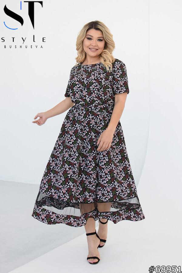 Красиве літнє плаття в квіточку з коротким рукавом, чорний, Софт + сітка | р.50-52, 54-56, 58-60