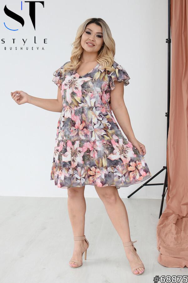 Яскраве коротке літнє плаття трапеція з квітковим принтом, сірий-рожевий, Супер софт   р.46-48, 50-52, 54-56,