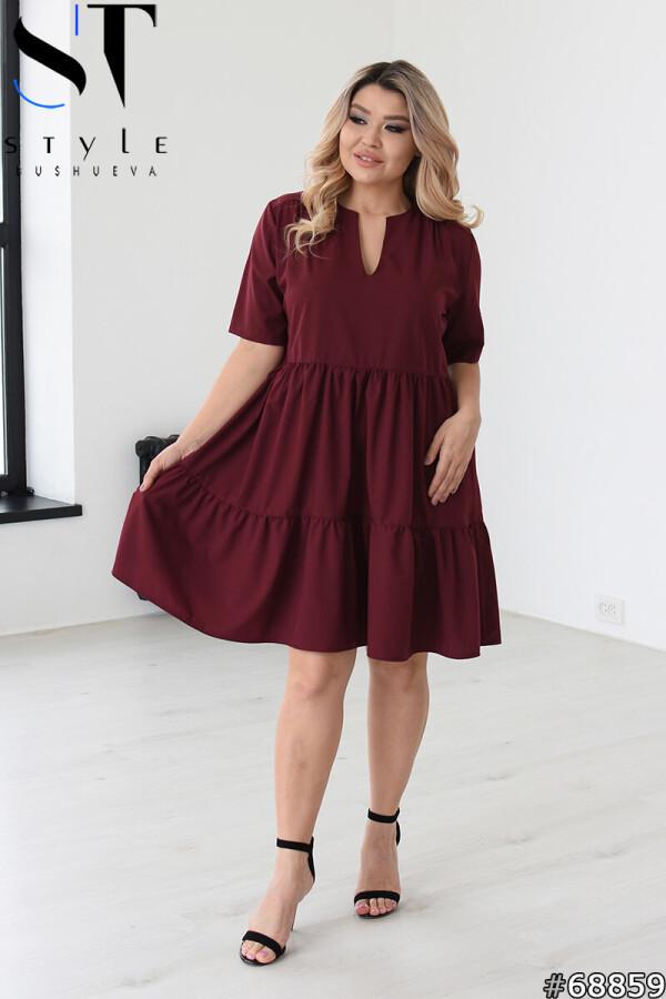 Вільне літнє плаття із завищеною талією, Марсала, Софт | р.46-48, 50-52, 54-56