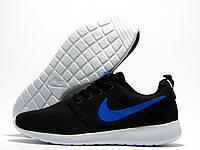 Кроссовки мужские Nike Roshe Run темно-серые, синий значок (найк роше ран)