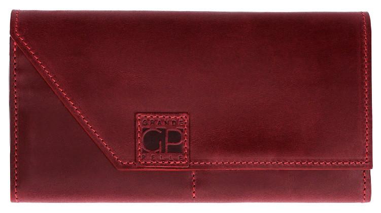 Жіночий гаманець Grande Pelle з натуральної шкіри, бордове портмоне для купюр, карт і монет, матове
