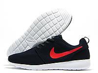 Кроссовки мужские Nike Roshe Run синие, красный значок (найк роше ран)