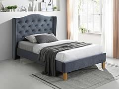 Ліжко односпальне ASPEN VELVET 120x200 колір сірий/дуб BLUVEL 14