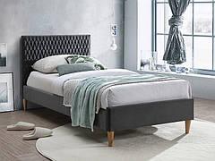 Ліжко односпальне AZURRO VELVET 90X200 колір сірий/дуб BLUVEL 14